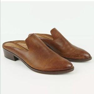 Frye Ray Mules Brown Leather Heel Sz 8